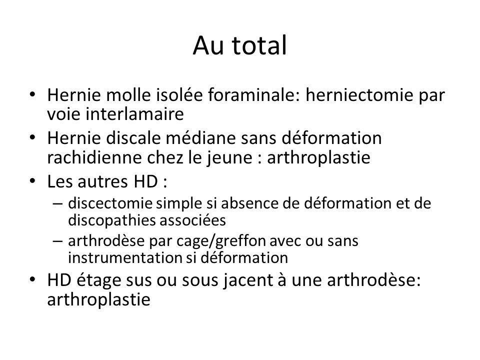 Au total Hernie molle isolée foraminale: herniectomie par voie interlamaire Hernie discale médiane sans déformation rachidienne chez le jeune : arthro