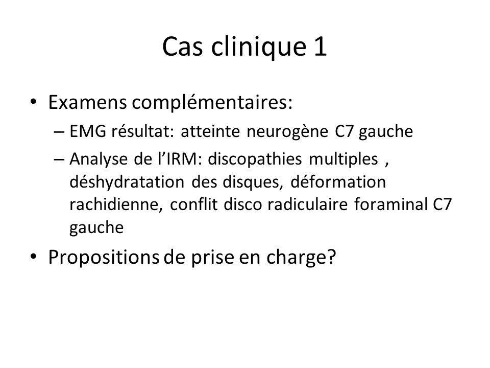 Cas clinique 1 Examens complémentaires: – EMG résultat: atteinte neurogène C7 gauche – Analyse de lIRM: discopathies multiples, déshydratation des dis