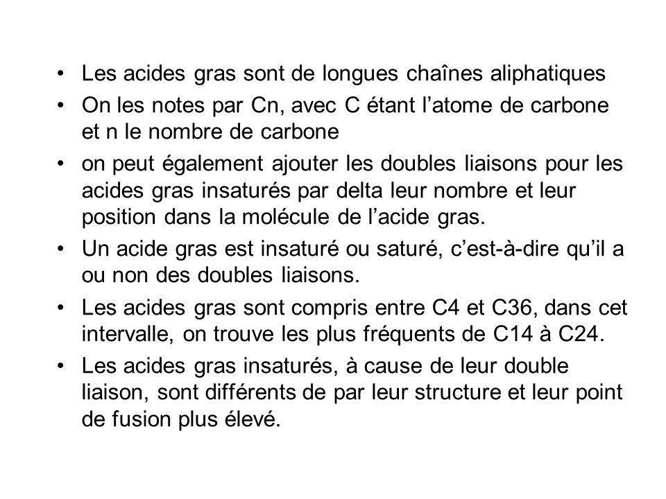 Les acides gras sont de longues chaînes aliphatiques On les notes par Cn, avec C étant latome de carbone et n le nombre de carbone on peut également ajouter les doubles liaisons pour les acides gras insaturés par delta leur nombre et leur position dans la molécule de lacide gras.