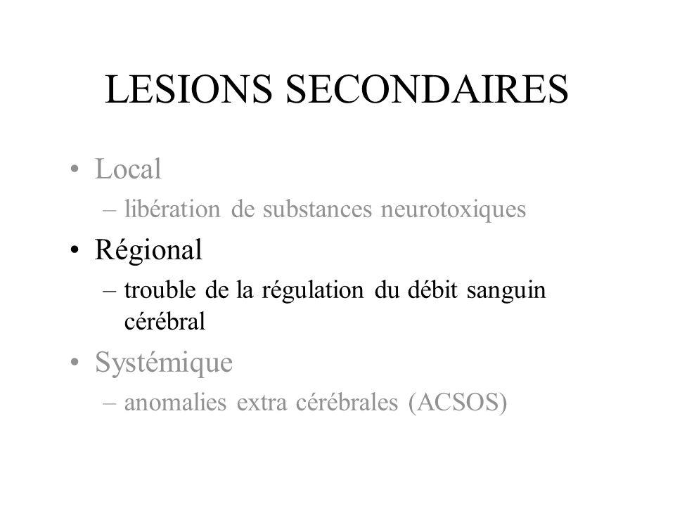 LESIONS SECONDAIRES Local –libération de substances neurotoxiques Régional –trouble de la régulation du débit sanguin cérébral Systémique –anomalies extra cérébrales (ACSOS)