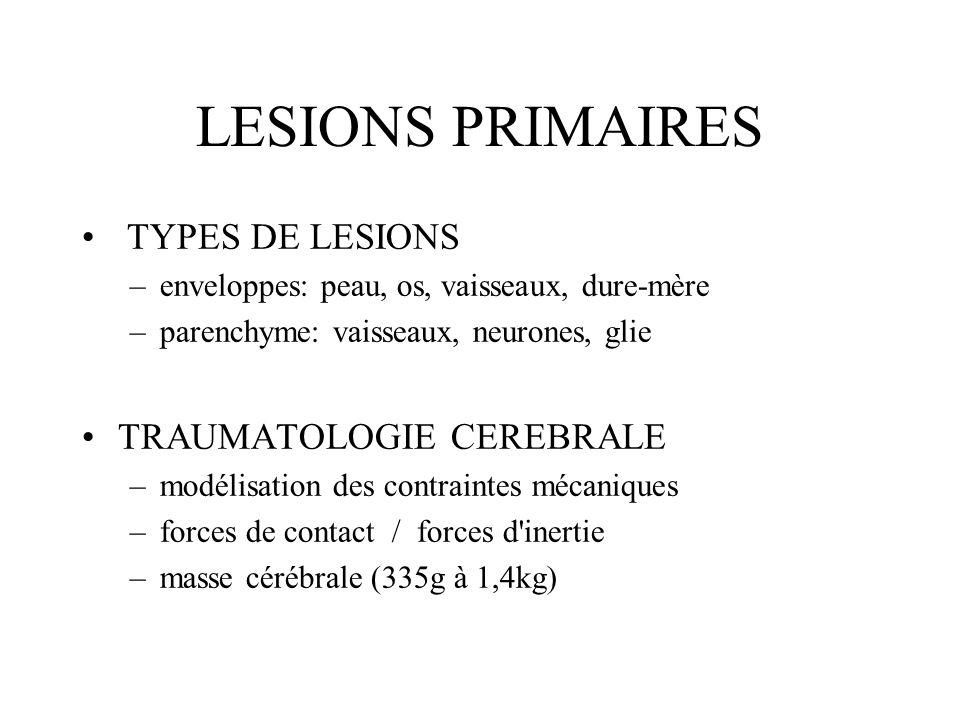 TYPES DE LESIONS –enveloppes: peau, os, vaisseaux, dure-mère –parenchyme: vaisseaux, neurones, glie TRAUMATOLOGIE CEREBRALE –modélisation des contrain