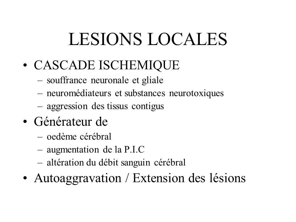LESIONS LOCALES CASCADE ISCHEMIQUE –souffrance neuronale et gliale –neuromédiateurs et substances neurotoxiques –aggression des tissus contigus Généra