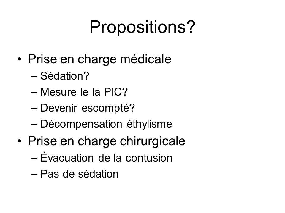 Propositions. Prise en charge médicale –Sédation.
