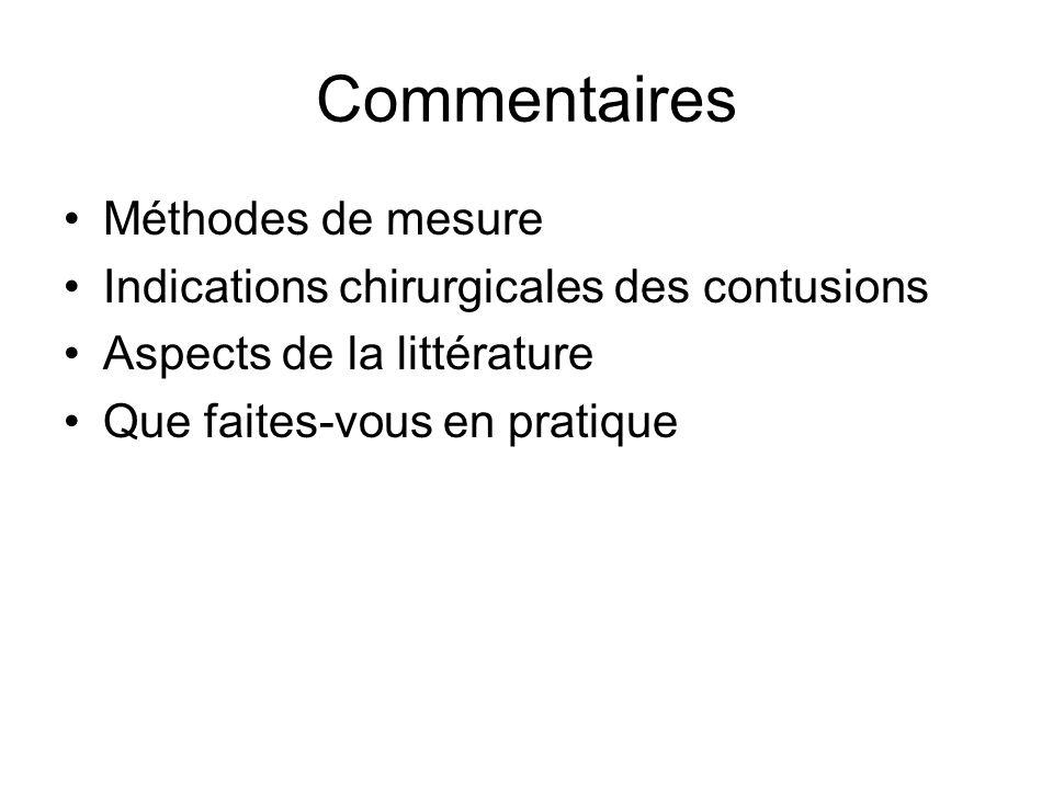 Commentaires Méthodes de mesure Indications chirurgicales des contusions Aspects de la littérature Que faites-vous en pratique