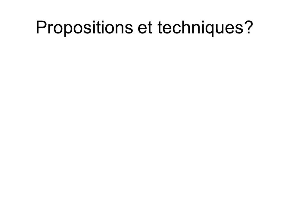 Propositions et techniques