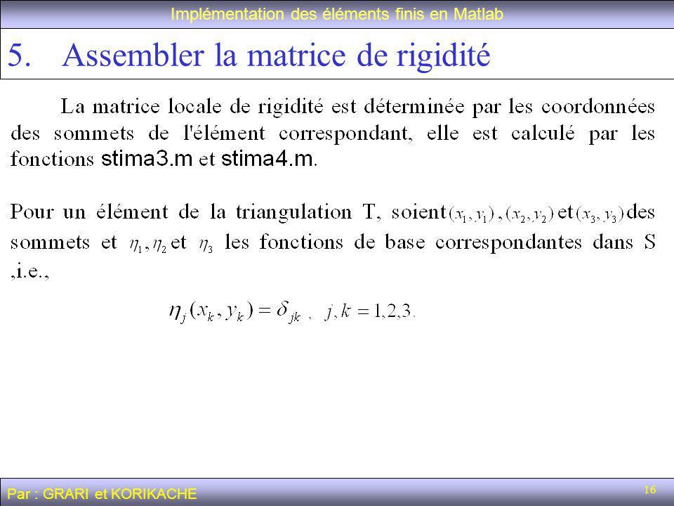 16 5.Assembler la matrice de rigidité Implémentation des éléments finis en Matlab Par : GRARI et KORIKACHE