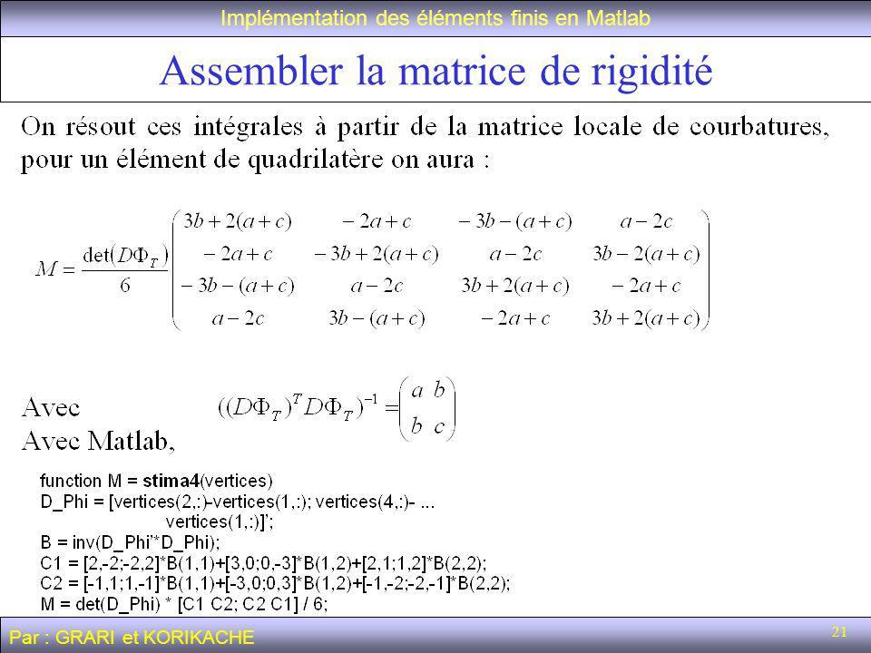 21 Assembler la matrice de rigidité Implémentation des éléments finis en Matlab Par : GRARI et KORIKACHE
