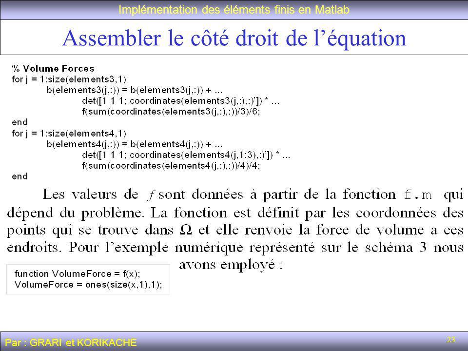 23 Assembler le côté droit de léquation Implémentation des éléments finis en Matlab Par : GRARI et KORIKACHE