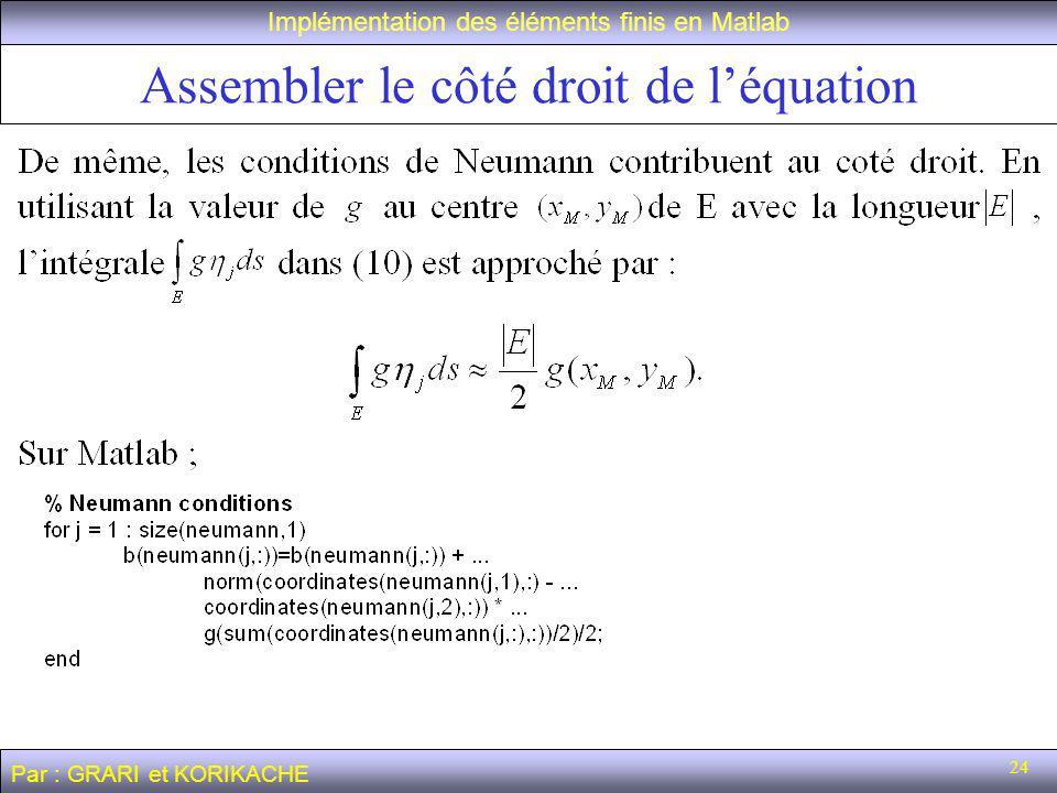 24 Assembler le côté droit de léquation Implémentation des éléments finis en Matlab Par : GRARI et KORIKACHE
