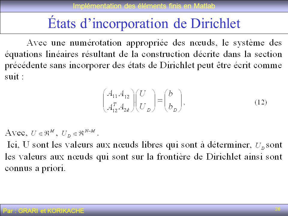 26 États dincorporation de Dirichlet Implémentation des éléments finis en Matlab Par : GRARI et KORIKACHE