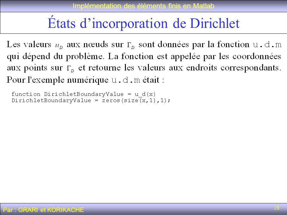 28 États dincorporation de Dirichlet Implémentation des éléments finis en Matlab Par : GRARI et KORIKACHE