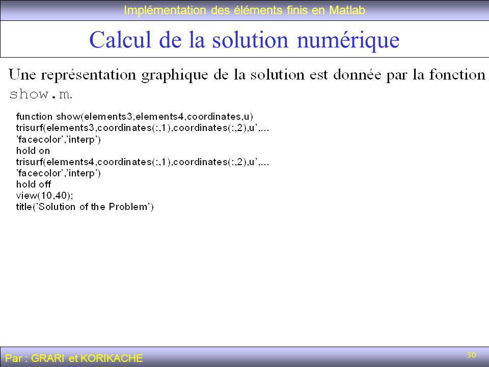 30 Calcul de la solution numérique Implémentation des éléments finis en Matlab Par : GRARI et KORIKACHE