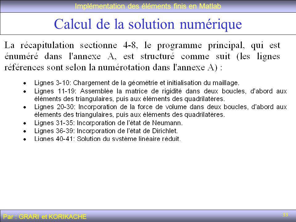 33 Calcul de la solution numérique Implémentation des éléments finis en Matlab Par : GRARI et KORIKACHE