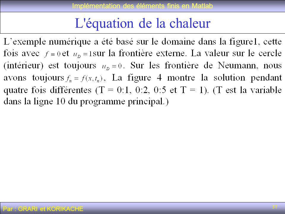 37 L équation de la chaleur Implémentation des éléments finis en Matlab Par : GRARI et KORIKACHE