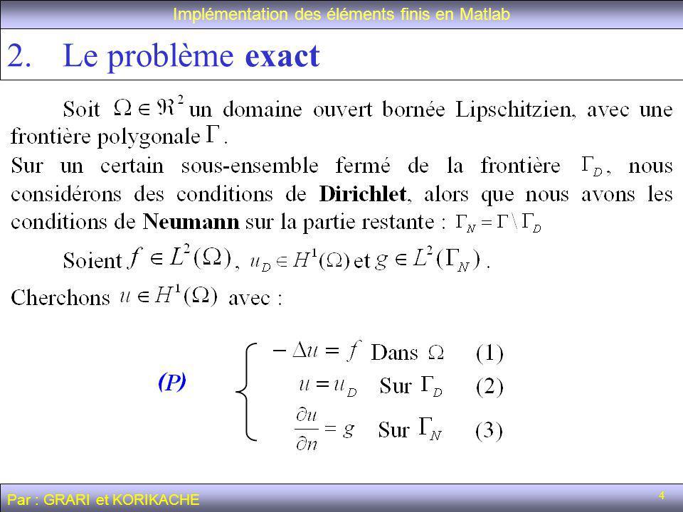 5 2.Le problème exact Implémentation des éléments finis en Matlab Par : GRARI et KORIKACHE