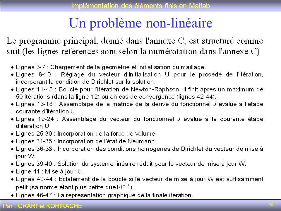 45 Un problème non-linéaire Implémentation des éléments finis en Matlab Par : GRARI et KORIKACHE