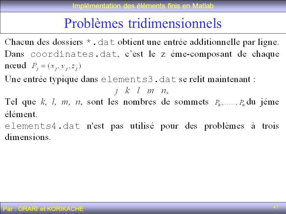 47 Problèmes tridimensionnels Implémentation des éléments finis en Matlab Par : GRARI et KORIKACHE