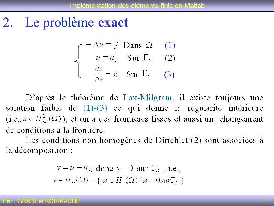 36 L équation de la chaleur Implémentation des éléments finis en Matlab Par : GRARI et KORIKACHE