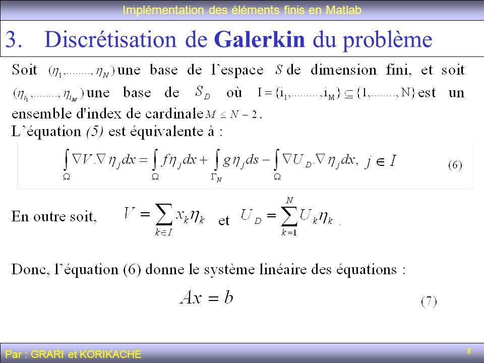 29 Calcul de la solution numérique Implémentation des éléments finis en Matlab Par : GRARI et KORIKACHE