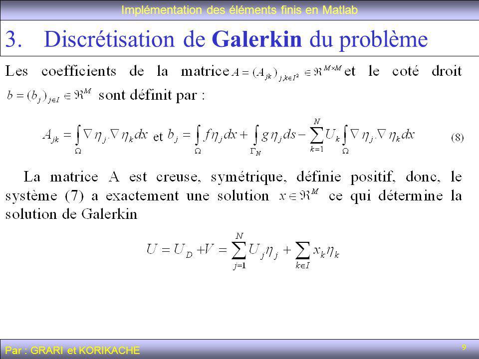 9 Implémentation des éléments finis en Matlab Par : GRARI et KORIKACHE 3.Discrétisation de Galerkin du problème