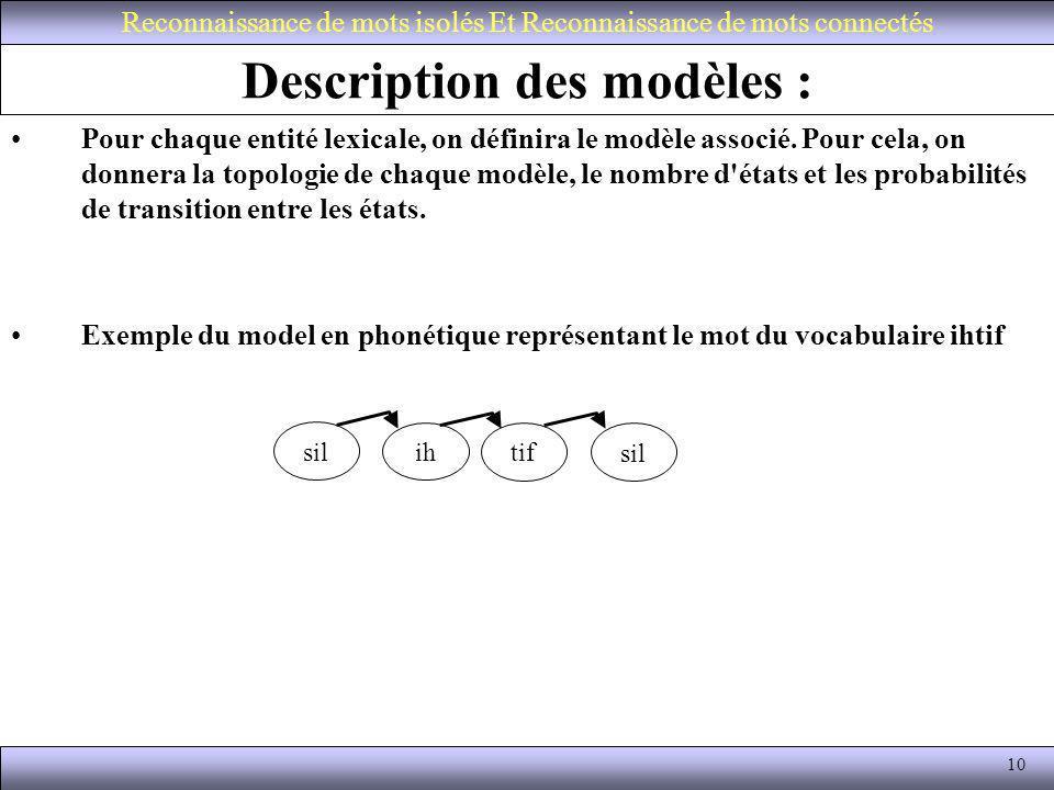 10 Description des modèles : Pour chaque entité lexicale, on définira le modèle associé. Pour cela, on donnera la topologie de chaque modèle, le nombr