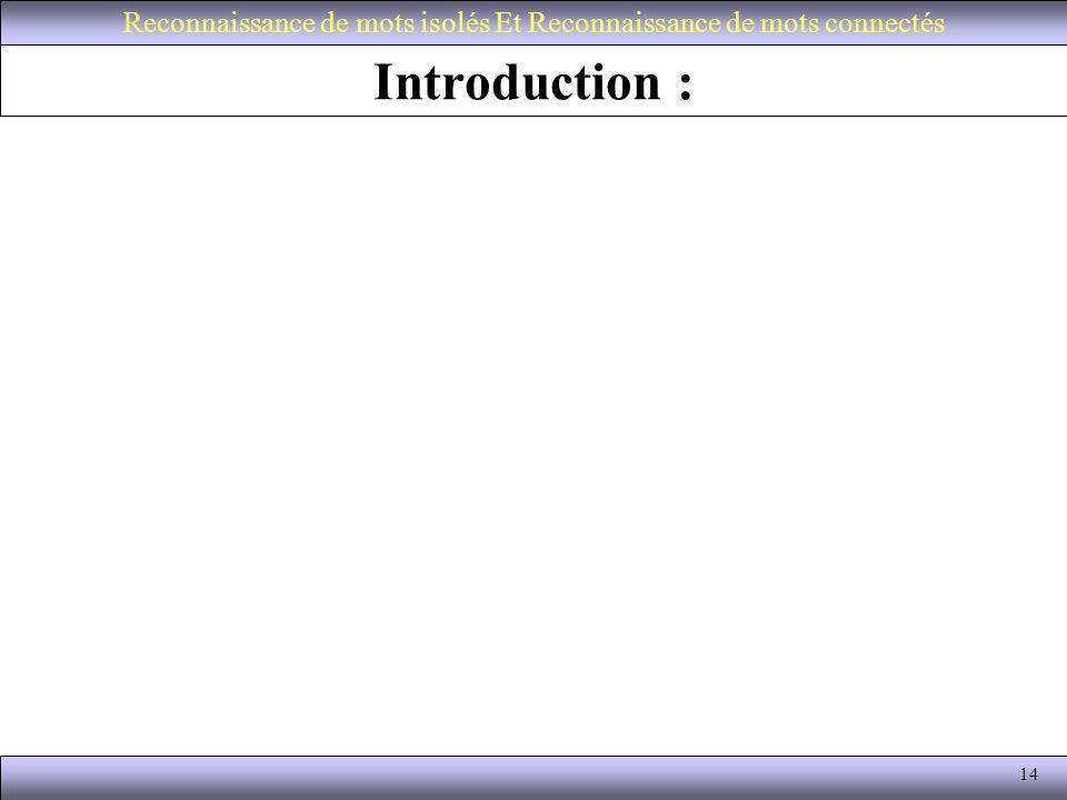14 Introduction : Reconnaissance de mots isolés Et Reconnaissance de mots connectés