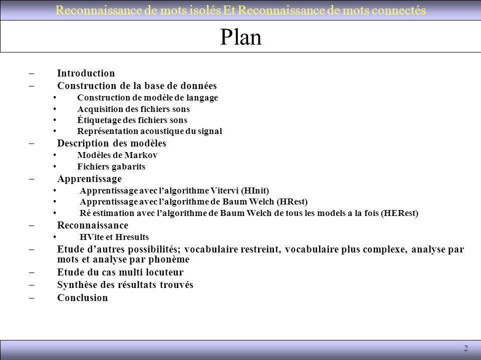 2 Plan –Introduction –Construction de la base de données Construction de modèle de langage Acquisition des fichiers sons Étiquetage des fichiers sons