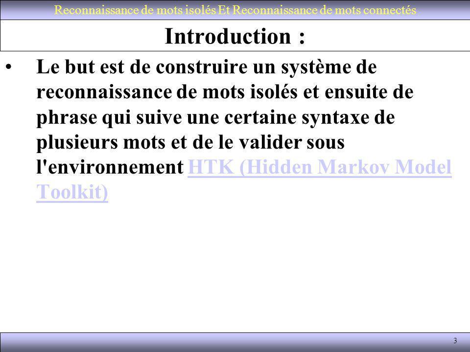 3 Introduction : Le but est de construire un système de reconnaissance de mots isolés et ensuite de phrase qui suive une certaine syntaxe de plusieurs