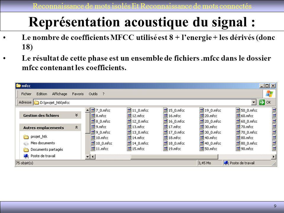 9 Représentation acoustique du signal : Le nombre de coefficients MFCC utilisé est 8 + lenergie + les dérivés (donc 18) Le résultat de cette phase est