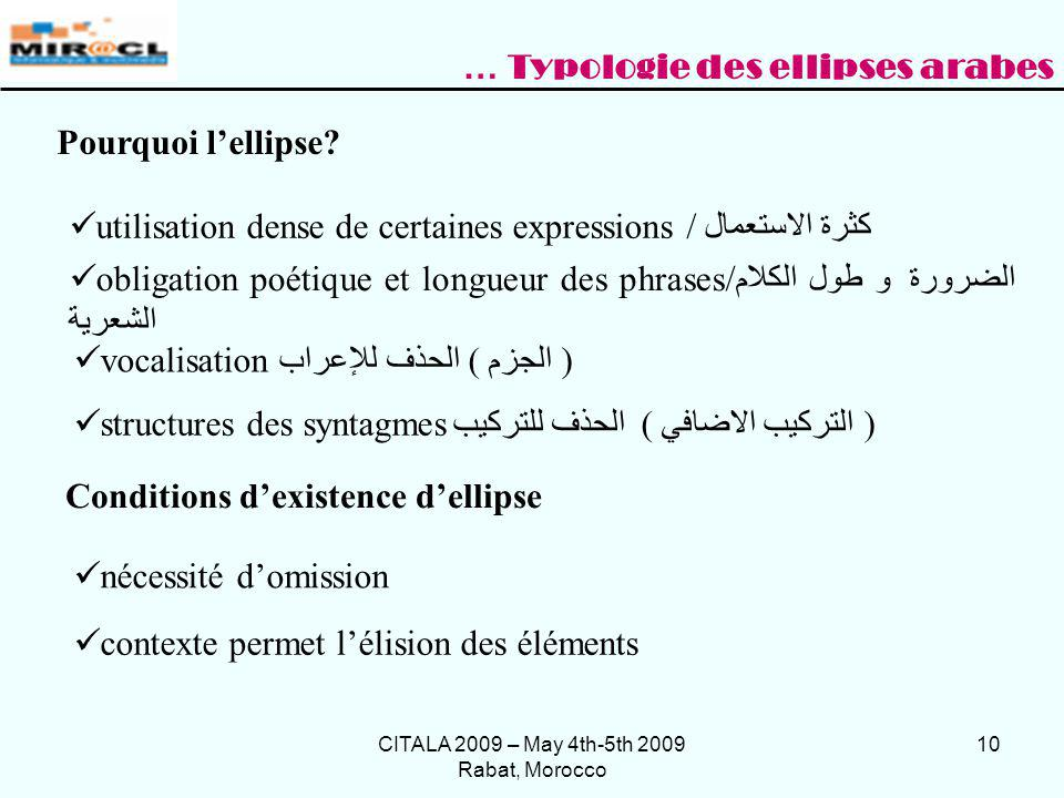 CITALA 2009 – May 4th-5th 2009 Rabat, Morocco 10 Pourquoi lellipse? utilisation dense de certaines expressions / كثرة الاستعمال obligation poétique et
