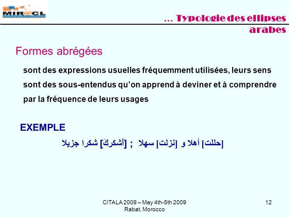 CITALA 2009 – May 4th-5th 2009 Rabat, Morocco 12 Formes abrégées sont des expressions usuelles fréquemment utilisées, leurs sens sont des sous-entendu