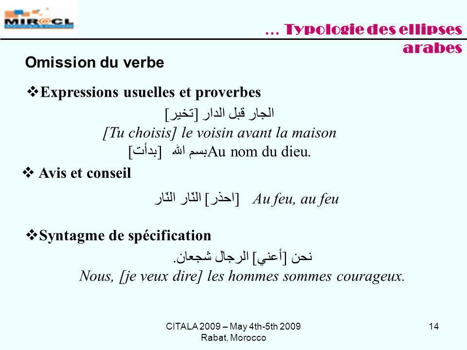 CITALA 2009 – May 4th-5th 2009 Rabat, Morocco 14 Expressions usuelles et proverbes [تخير] الجار قبل الدار [Tu choisis] le voisin avant la maison [بدأت