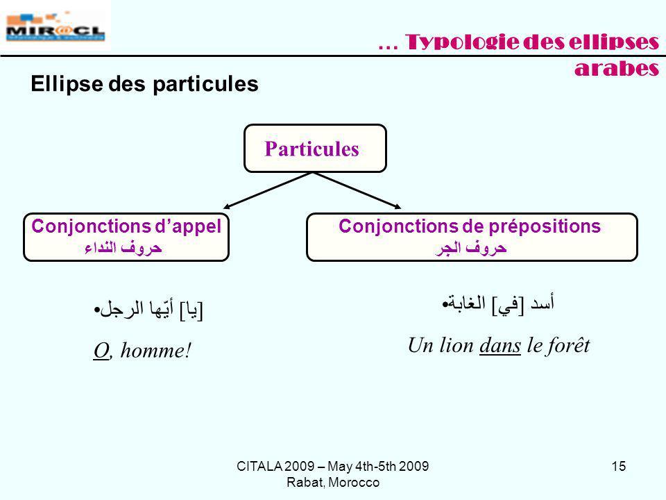 CITALA 2009 – May 4th-5th 2009 Rabat, Morocco 15 Ellipse des particules Particules Conjonctions dappel حروف النداء Conjonctions de prépositions حروف ا