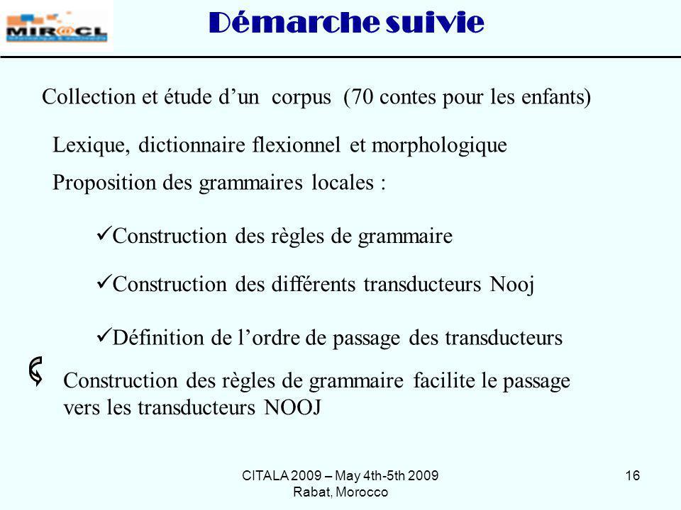 CITALA 2009 – May 4th-5th 2009 Rabat, Morocco 16 Collection et étude dun corpus (70 contes pour les enfants) Proposition des grammaires locales : Déma