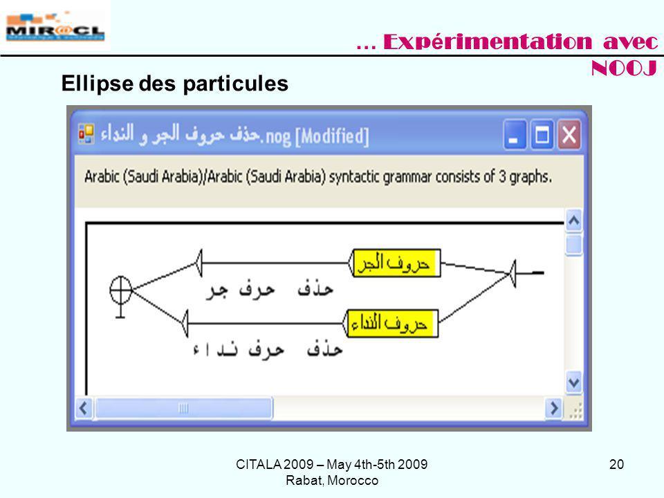 CITALA 2009 – May 4th-5th 2009 Rabat, Morocco 20 Ellipse des particules … Exp é rimentation avec NOOJ
