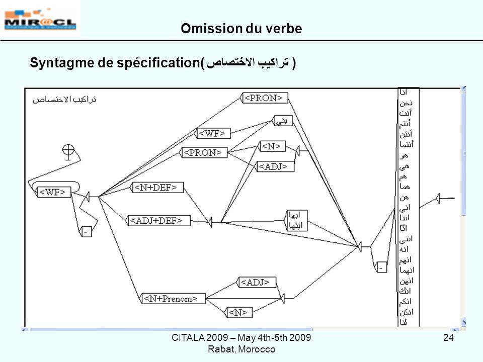 CITALA 2009 – May 4th-5th 2009 Rabat, Morocco 24 Syntagme de spécification( تراكيب الاختصاص ) Omission du verbe