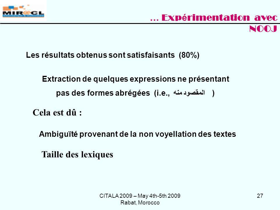 CITALA 2009 – May 4th-5th 2009 Rabat, Morocco 27 Extraction de quelques expressions ne présentant pas des formes abrégées (i.e., المقصود منه ) Les rés