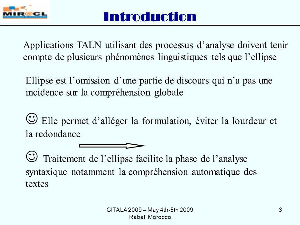 CITALA 2009 – May 4th-5th 2009 Rabat, Morocco 3 Ellipse est lomission dune partie de discours qui na pas une incidence sur la compréhension globale Ap