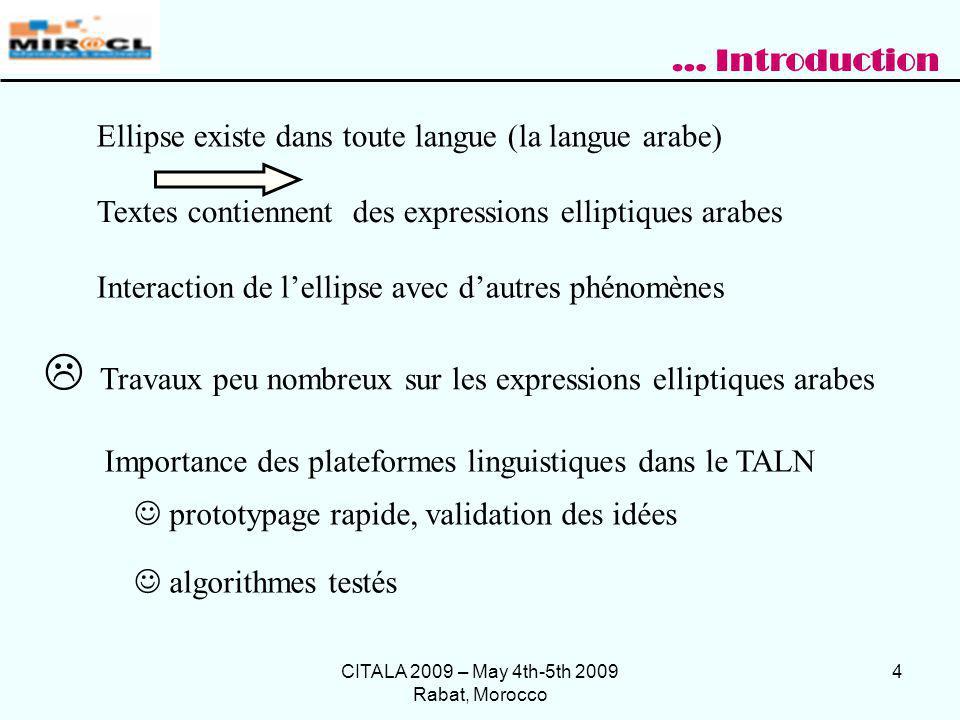 CITALA 2009 – May 4th-5th 2009 Rabat, Morocco 25 Corpus choisi document HTML qui détaille les cas des figures des expressions elliptiques en arabe (660480 mots) … Exp é rimentation avec NOOJ