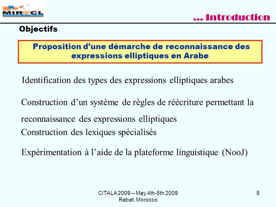 CITALA 2009 – May 4th-5th 2009 Rabat, Morocco 6 Trois grandes approches suivies pour la résolution dellipse : Approche syntaxique : les éléments omis ont une structure syntaxique [Lappin 1992], [Haddar et al., 2000], [Wilder 1997], [Beavers & Sag 2004] Etat de lart Résolution de lellipse consistera à reconstruire une relation syntaxique entre la proposition bien formée (proposition antécédente) et la proposition elliptique (proposition cible).