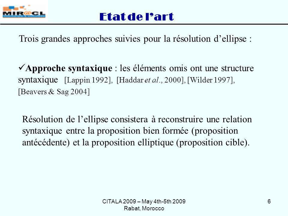 CITALA 2009 – May 4th-5th 2009 Rabat, Morocco 7 … Etat de lart Approche hybride : fusion des deux premières approches [ Ginzburg & Sag 2000], [Culicover & Jackendoff 2006 ] Approche sémantique : se base sur le contexte [Sag et al.