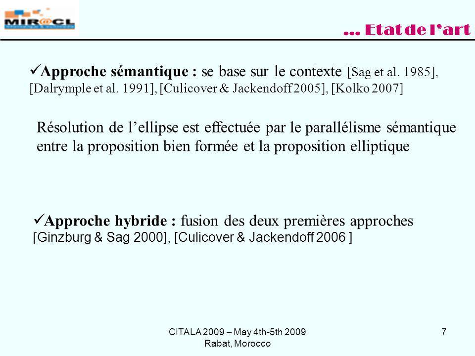 CITALA 2009 – May 4th-5th 2009 Rabat, Morocco 7 … Etat de lart Approche hybride : fusion des deux premières approches [ Ginzburg & Sag 2000], [Culicov