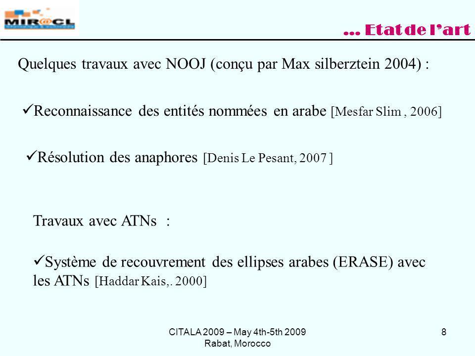 CITALA 2009 – May 4th-5th 2009 Rabat, Morocco 8 Quelques travaux avec NOOJ (conçu par Max silberztein 2004) : Résolution des anaphores [Denis Le Pesan