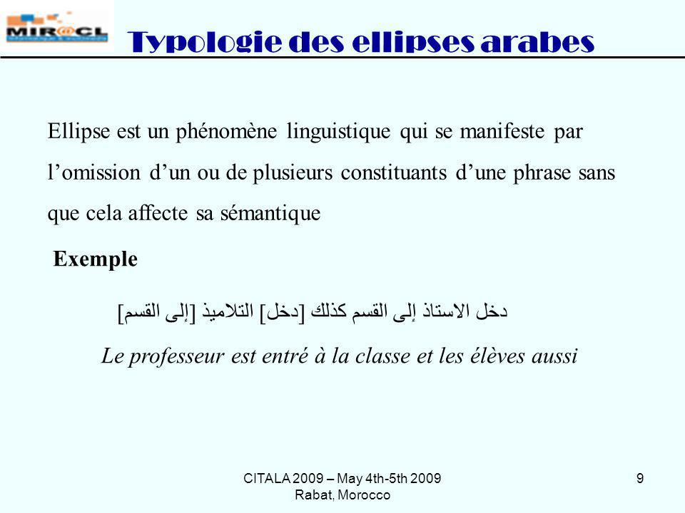 CITALA 2009 – May 4th-5th 2009 Rabat, Morocco 9 Ellipse est un phénomène linguistique qui se manifeste par lomission dun ou de plusieurs constituants