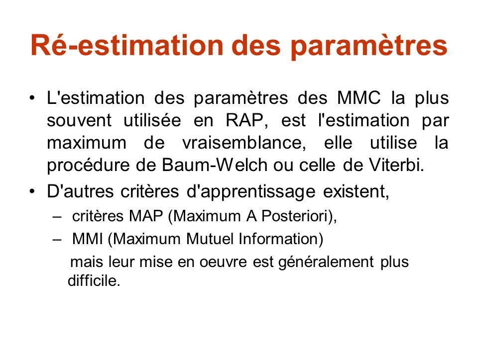 Méthode de Baum-Welch Étant donné l ensemble d apprentissage La procédure de Baum-Welch consiste à maximiser la vraisemblance de ces observations par rapport aux paramètres du modèle.