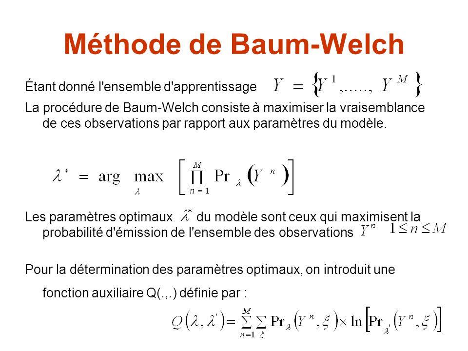 Méthode de Baum-Welch et deux modèles, chemin quelconque du réseau La formule de ré-estimation prend en considération pour chaque observation les informations le long de tous les chemins du réseau.