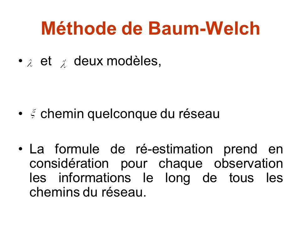 Méthode de Baum-Welch et deux modèles, chemin quelconque du réseau La formule de ré-estimation prend en considération pour chaque observation les info