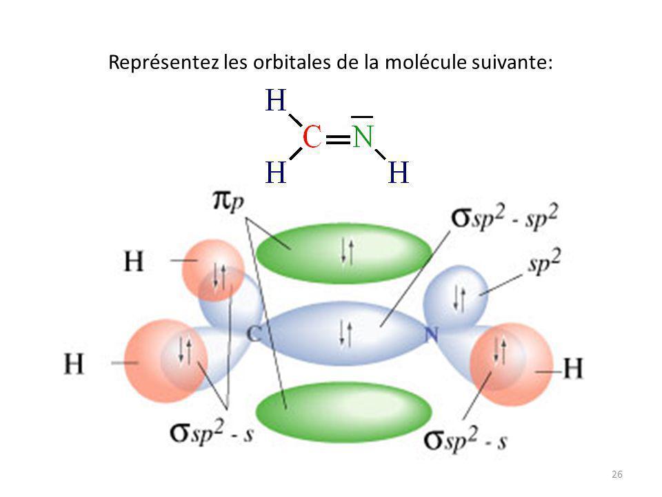 25 Hybridation sp 2 Nombre d atomes liés + le nombre de doublets libres = 3 Angle entre les orbitales hybrides = 120˚