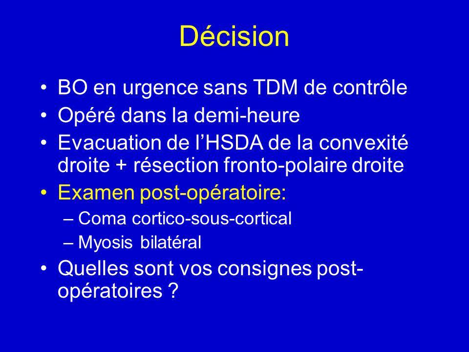 Décision BO en urgence sans TDM de contrôle Opéré dans la demi-heure Evacuation de lHSDA de la convexité droite + résection fronto-polaire droite Examen post-opératoire: –Coma cortico-sous-cortical –Myosis bilatéral Quelles sont vos consignes post- opératoires ?