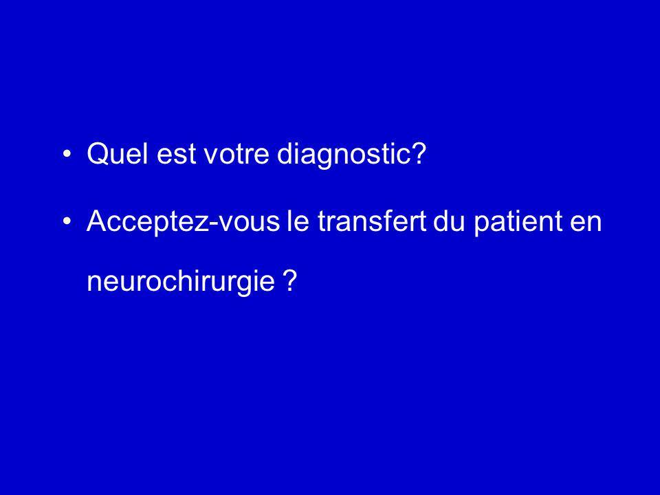 Examen J0 Patient transféré en réanimation neurochirurgicale Intubé, ventilé, sédaté GCS = 7 Coma cortico-sous-cortical, mimique de souffrance présente flexion droite adaptée, léger déficit gauche pupilles normales